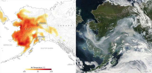 Alaska Maps of Air Temperature and Smoke from Wildfires