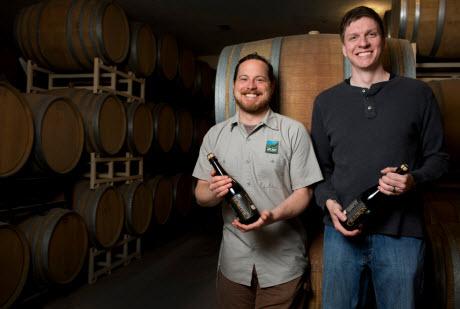 IU biochemist Matthew Bochman, right, and Caleb Staton of Upland Brewing Co.