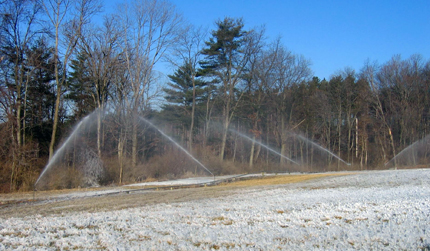 Spray irrigation at the Living Filter site