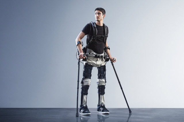 Steven Sanchez in the SuitX exoskeleton