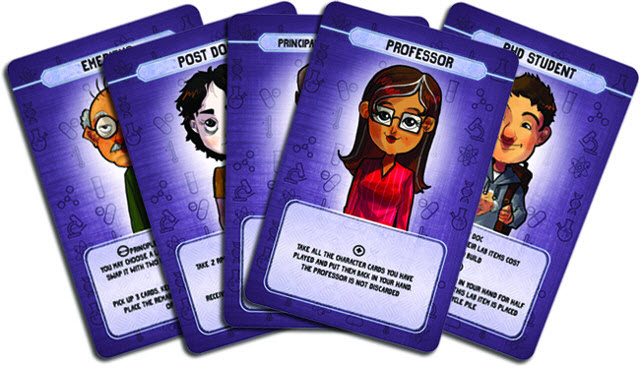 Lab Wars prototype character cards