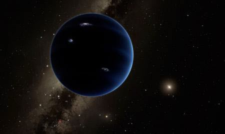 distant view from Planet Nine back towards the sun