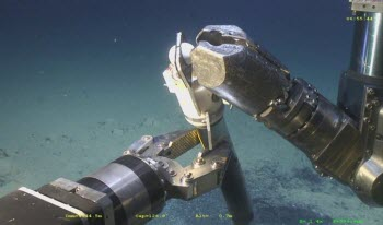 A remotely-operated vehicle collects a sediment core from deep ocean waters