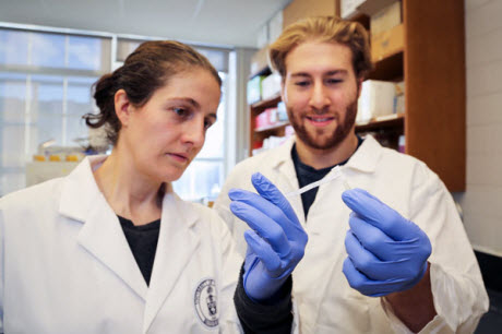 Associate Professor Alison McGuigan of chemical engineering with PhD candidate Darren Rodenhizer