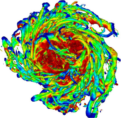 Turbulence simulations for a vortex such as a tornado, a galaxy, or the swirls that form at the tips of airplane wings