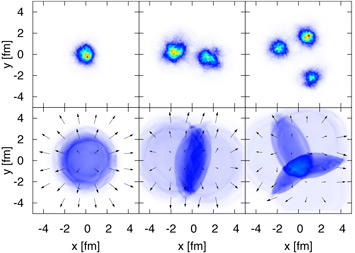 hot spots created by collisions of one, two, and three-particle ions with heavy nuclei