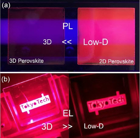 Photoluminescence and Electroluminsecence in Low-Dimensional and 3D Perovskite-Based Devices