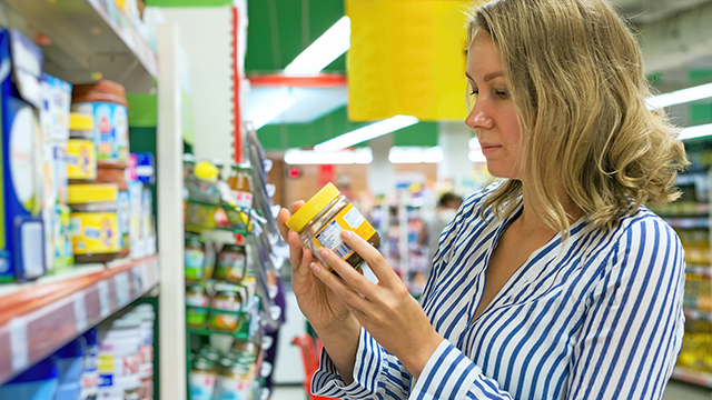 woman shopping for baby food