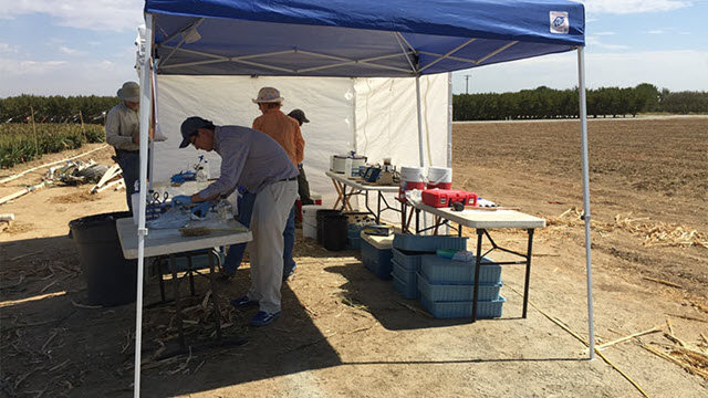 mobile lab in sorghum field