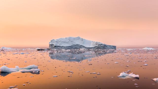 icebergs and sunset