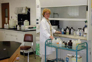 Vera Sitnova of the University of Maryland's Department of Chemistry and Biochemistry setting up a general chemistry teaching lab.