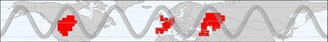 two wavelengths of meanders in the northern hemisphere jet stream