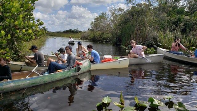 Boca Raton Community High School students sampling in Loxahatchee Refuge
