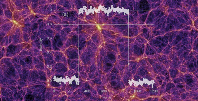A computerized simulation of the large-scale distribution of dark matter in the universe.