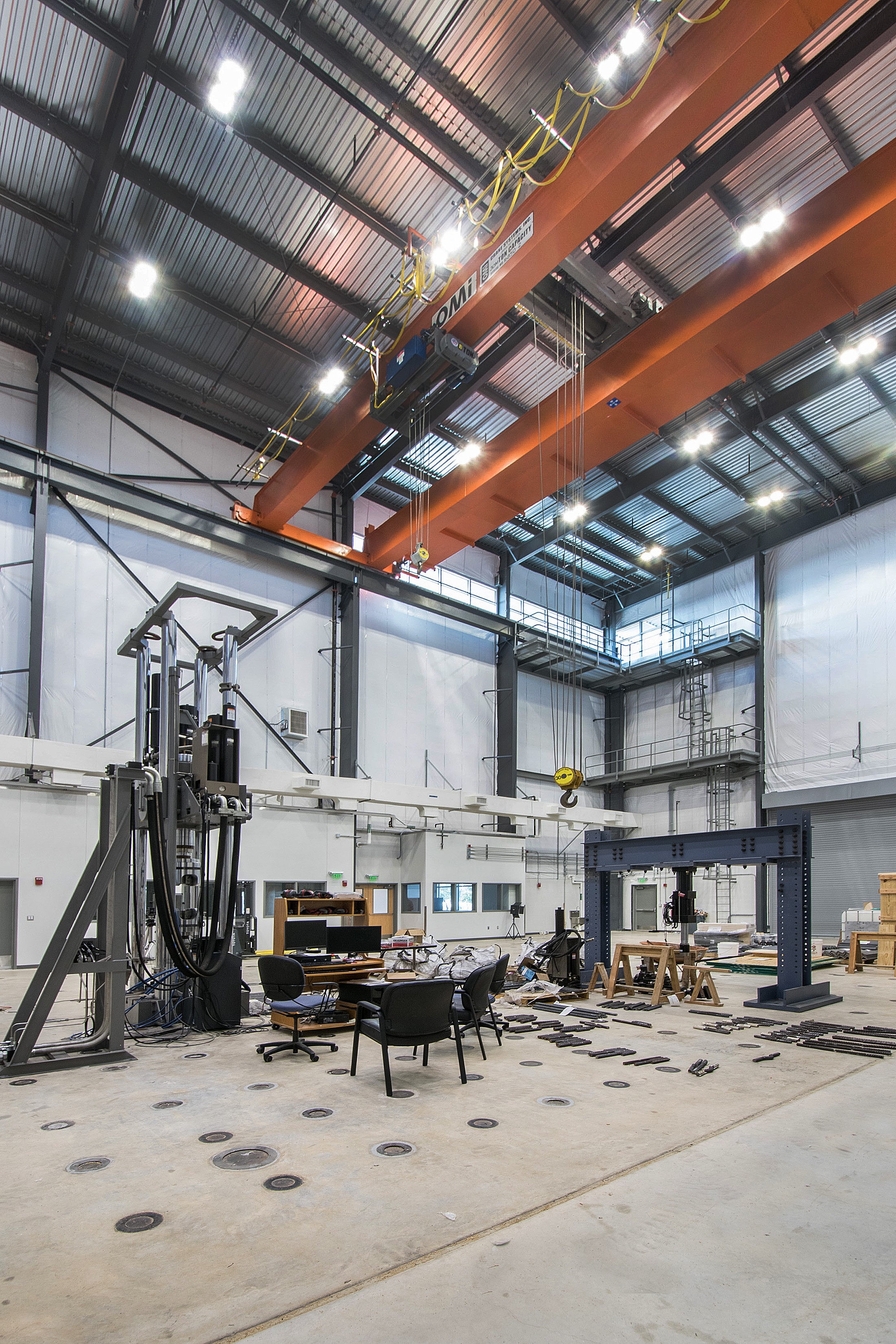 The cranes inside the Large-Scale Testing Laboratory.
