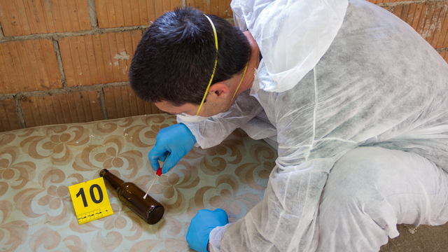 collecting DNA samples from crime scene