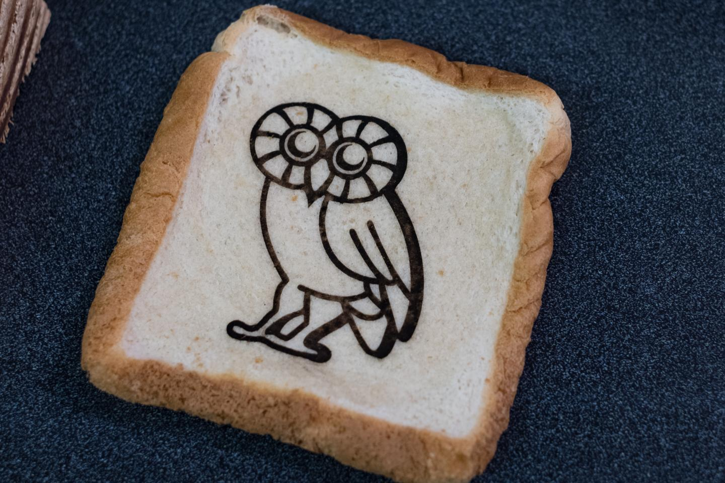 Graphene owl drawn on a piece of bread