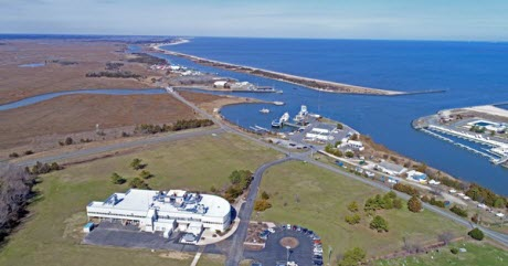 An aerial view of the coast near University of Delaware's Hugh R Sharp campus in Lewes