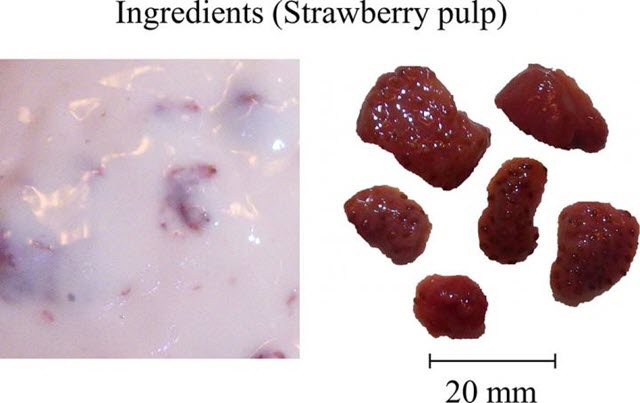 Photographs of Strawberry Pulp Dispersed in the Original Fruiche Source Food