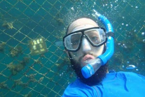 PhD student Sam Peppou Chapman Underwater Testing the Nanomaterials