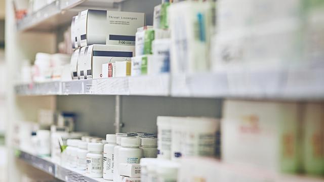 pharmaceuticals on shelf