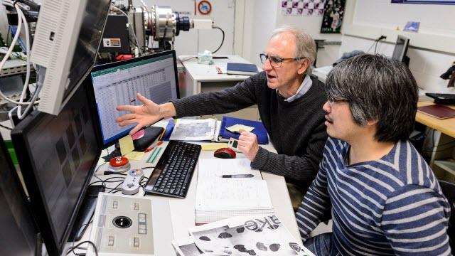 Geoscience Professor John Valley, left, and research scientist Kouki Kitajima