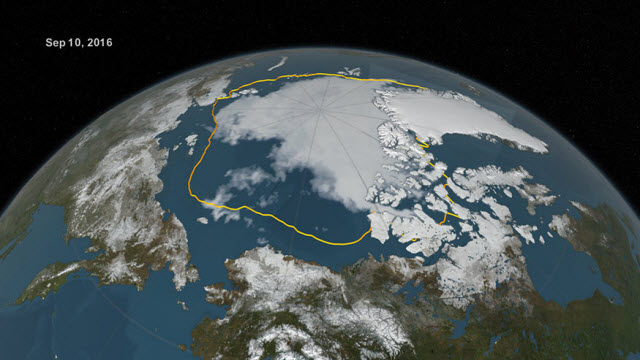 Extent of Arctic sea ice in September 2016 versus the 1981-2010 average minimum extent
