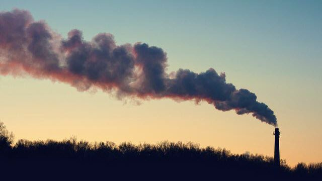 emissions from a plant chimney in Moscow, Russia
