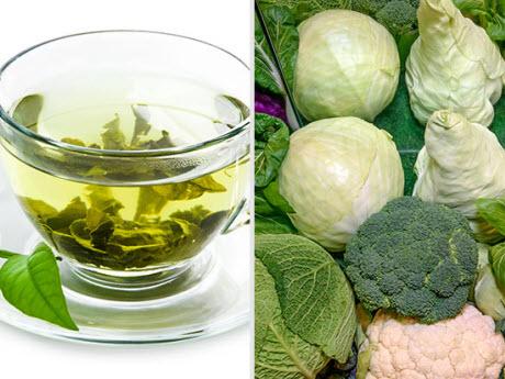 green tea and broccoli