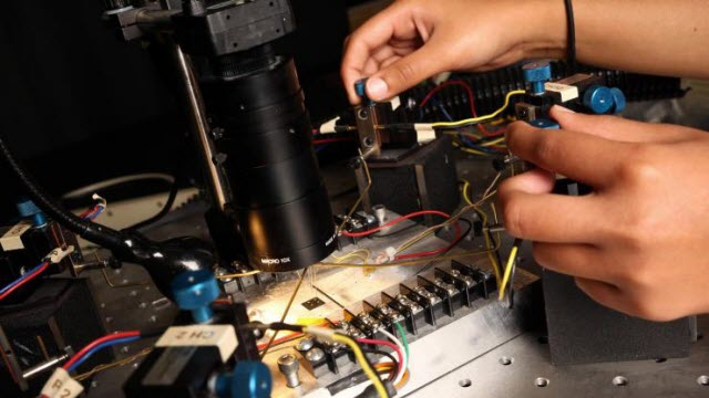Electrical conductivity is measured for a thermoelectric polymer film