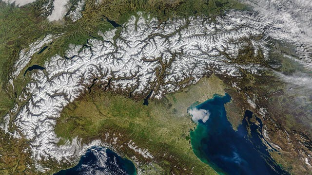 An overhead view of the Alps
