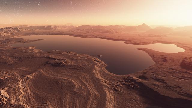 Illustration of Lakes on Mars