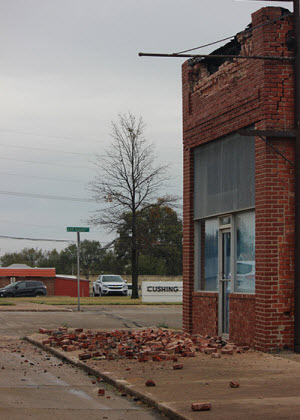Damage to buildings in Cushing, Oklahoma, from the magnitude 5.0 earthquake on November 6, 2016