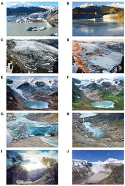 Time-lapse photo couplets of glaciers