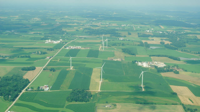 Wind turbines and farm fields near Springfield Corners, Wisconsin