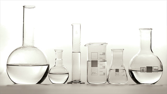 clear solvents in beakers