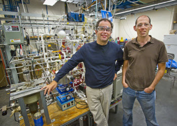 Dean Toste, left, of Berkeley Lab and UC Berkeley, and Elad Gross, right, of the Hebrew University of Jerusalem