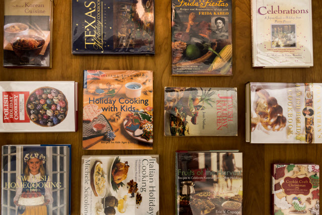 assortment of the holiday cookbooks