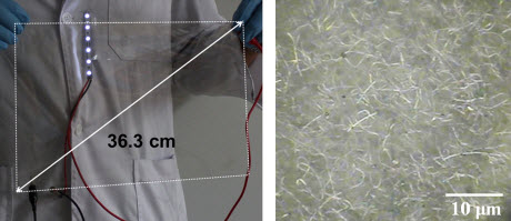 photograph of a large-scale silver nanowire-coated flexible film