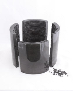 Composite pellets are melted, compounded, and extruded layer-by-layer into desired forms