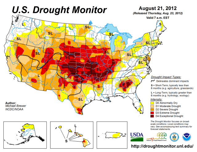 The official U.S. Drought Monitor issued on Aug. 21, 2012