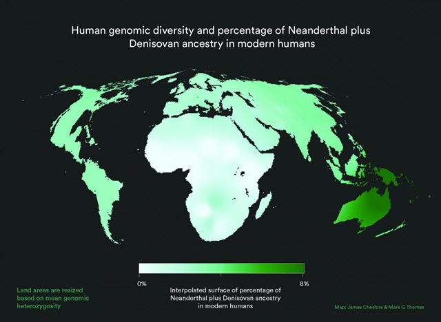 World map with land area resized to represent modern human genetic diversity