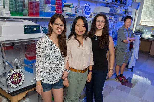 Doctoral students Emily Lee, Yichen Cheng and Sarah Ogden