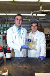 Amin Salehi-Khojin (left), UIC assistant professor of mechanical and industrial engineering, and postdoctoral researcher Mohammad Asadi