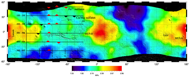 Global map of Mars sulfur concentration