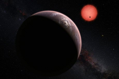 imagined view of the three planets orbiting an ultracool dwarf star just 40 light-years from Earth