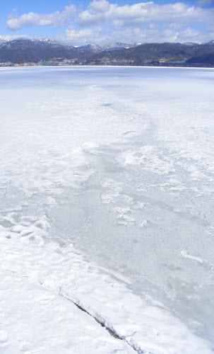 Frozen, present-day Lake Suwa